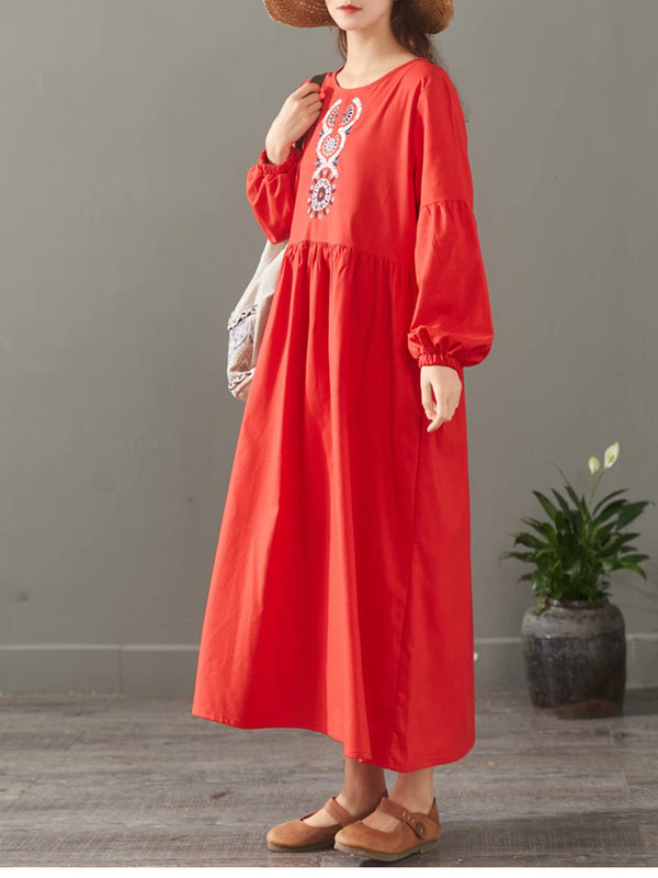 Elegant Pure Color Embroidery Cotton Maxi Dresses For Women 1523