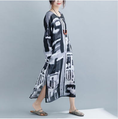 43962262aa Loose Vintage Black Print Loose Linen Maxi Dresses For Women Q22017