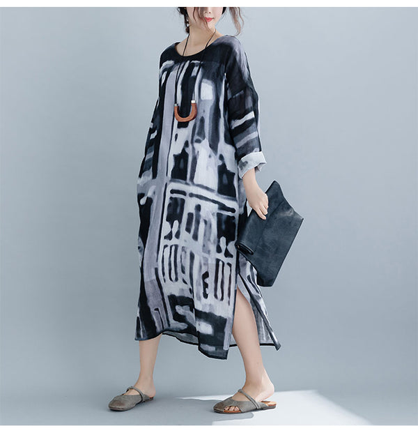 Loose Vintage Black Print Loose Linen Maxi Dresses For Women Q22017