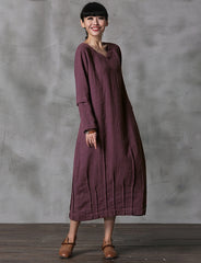 Elegant Vintage Detachable Sleeve Linen Maxi Dresses For Women Q22018