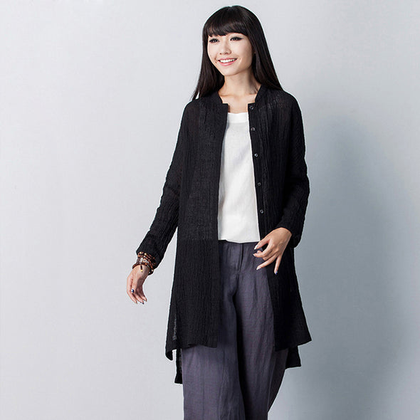 Casual Black And White Linen Coat Women Fashion Outfits C21016