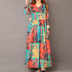 Cute Print Cotton Linen Maxi Dresses Women Casual Clothes 1563