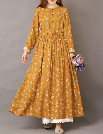 Women Loose Print Maxi Cotton Linen Dresses For Spring 1561