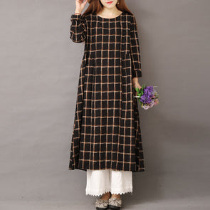 Casual Loose Cotton Linen Plaid Maxi Dresses For Women 1559