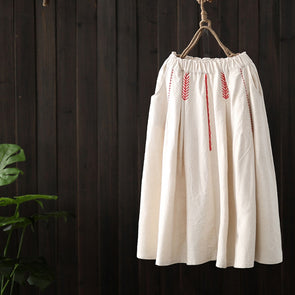 Loose Black And White Embroidery Linen Skirt For Women Q23012