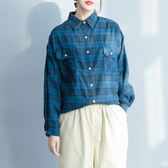 Blue Plaid Cotton Casual Shirt Women Spring Blouse S23017