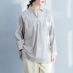 Loose Gray Plaid 100% Cotton Casual Shirt For Women S23019