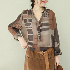 Korea Style Coffee And Blue Shirt Women Casual Tops Q2187