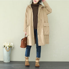 Casual Hoodie Cotton Wind Coat Women Spring Loose Jacket Q2212