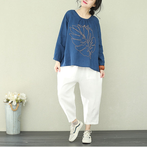 Casual Embroidery Linen Shirt Women Loose Blouse For Spring Q2198