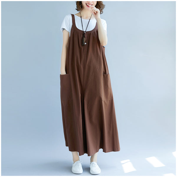Korea Style Loose Coffee Cotton Linen Wide-led Overalls For Women K28012