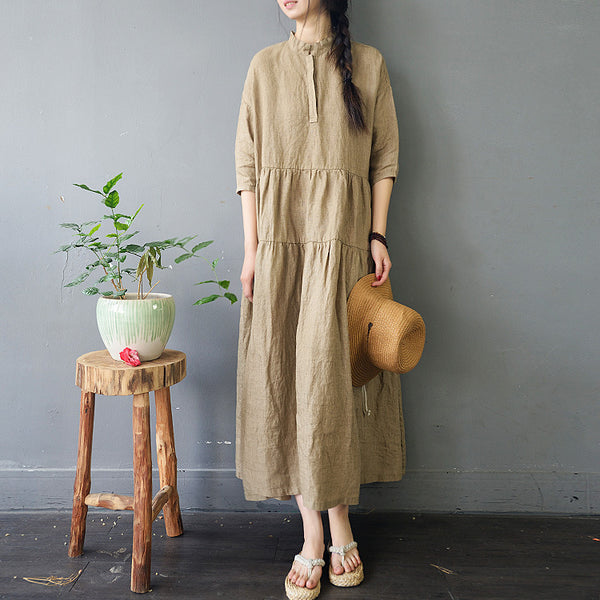 Loose Yellow Linen Maxi Dresses Women Casual Spring Clothes S754