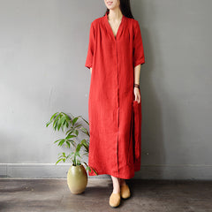 Vintage Pure Color Drawing Linen Maxi Dresses For Women S796