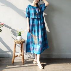 Women Casual Blue Plaid Linen Maxi Dresses Loose Outfits S817