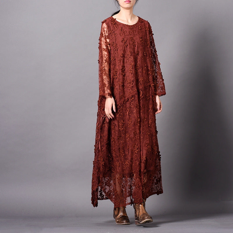 Elegant Loose Embroidery Lace Maxi Dresses For Women Q31010