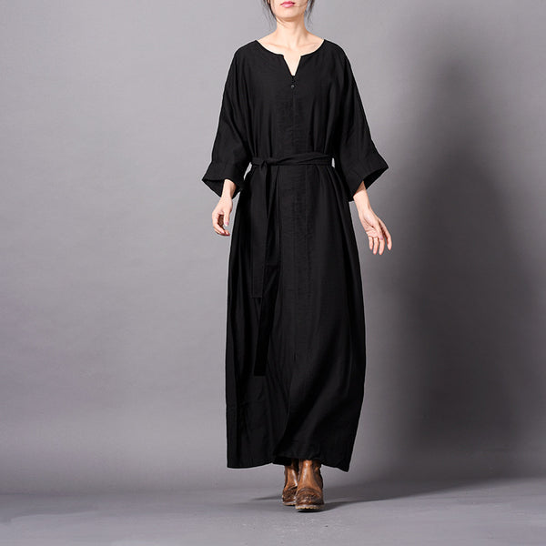 Women Pure Color Loose Drawing Maxi Dresses Elegant Spring Clothes Q31011