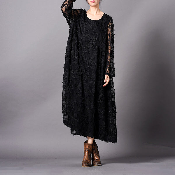 Black Elegant Lace Embroidery Loose Maxi Dresses For Women Q31012