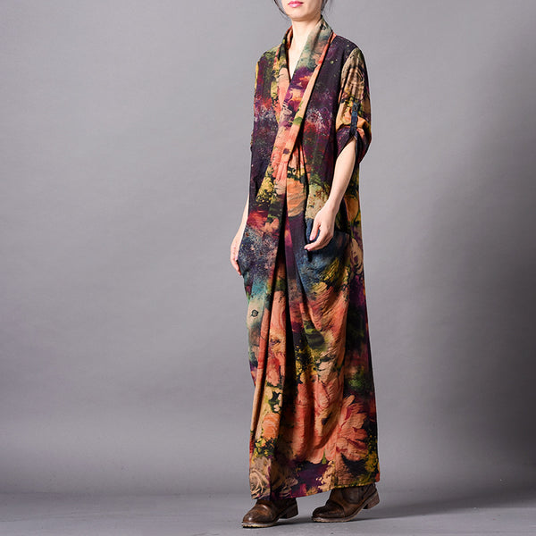 Elegant Loose Silk Maxi Dresses Women Casual Clothes For Spring Q31013