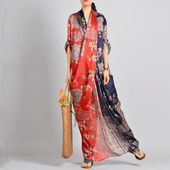 Vintage Quilted Print Maxi Dresses Women Spring Casual Clothes Q31015