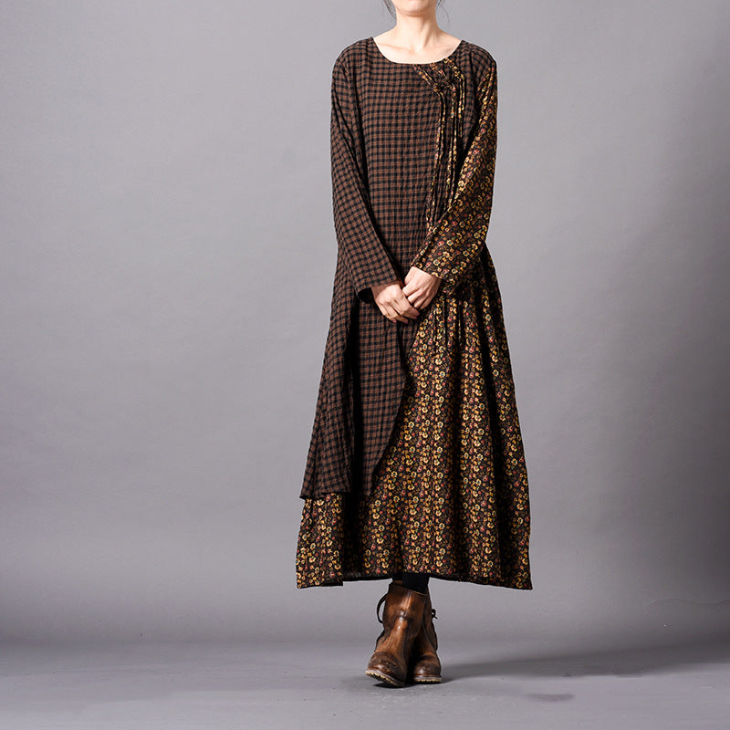0d9497033f26 Women Brown Plaid Quilted Loose Cotton Linen Maxi Dresses Q31019 ...