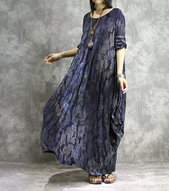 Blue Vintage Loose Plus Sweep Maxi Dresses For Women Q32014