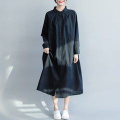 Loose White And Black Cotton Linen Dresses For Women Q4020