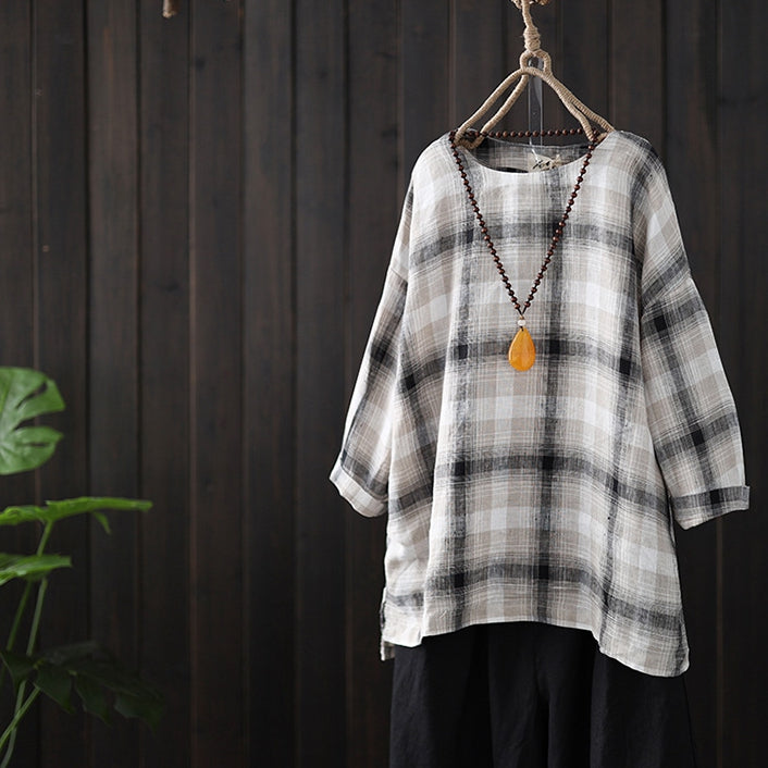 88fb32ce40c Women Vintage Linen Plaid Loose Shirt Casual Spring Blouse S4028 –  FantasyLinen
