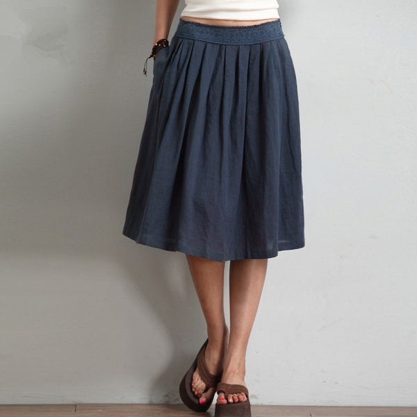 Simple Vintage Linen Casual Skirt Women Fashion Spring Clothes Q4029