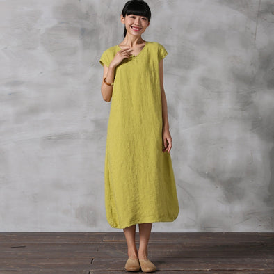 5727ecdcf Chinese Style Pure Color Linen Dresses Women Casual Clothes Q5022