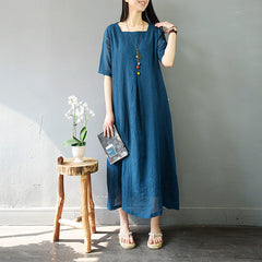 Vintage Casual Pure Color Cotton Linen Maxi Dresses For Women S858