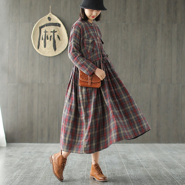 Brown Loose Plaid Cotton Dresses Women Casual Spring Clothes Q736
