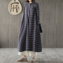 Loose Striped Linen Maxi Dresses Women Spring Casual Clothes Q733