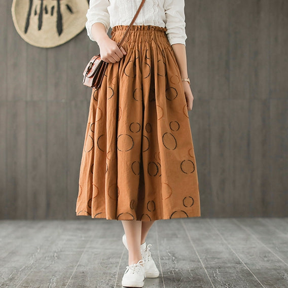 Cute Plus Size Polka Dot Skirt Women Casual Spring Clothes Q7311