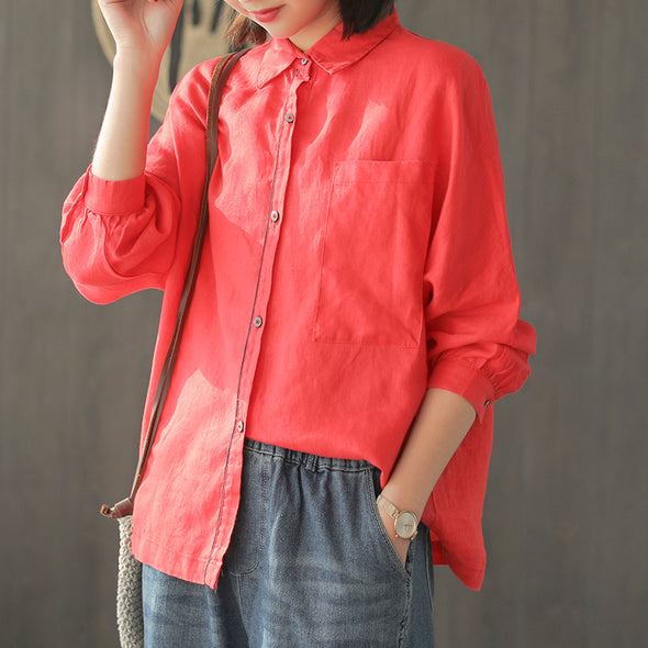 Women Cotton Linen Pure Color Casual Shirt For Spring C730