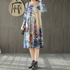 Vintage Print Maxi Sweater Dresses Women Loose Clothes S545