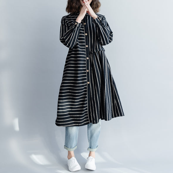 Black Striped Button Down Casual Dresses Women Loose Clothes Q18022