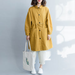 Yellow Drawing Button Down Casual Wind Coat For Women C18021