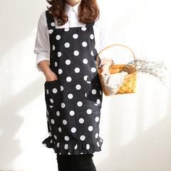 Black And White Dot Apron Fashion Home Kitchen Workwear A18023