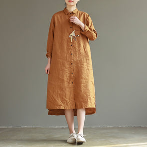 Loose Embroidery Pure Color Cotton Linen Shirt Dresses For Women Q26021