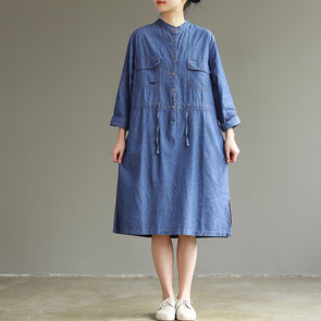 Loose Blue Denim Dresses Women Casual Spring Clothes Q26022