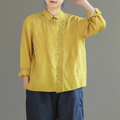 Vintage Red And Yellow Cotton Linen Shirt Women Casual Blouse S26028