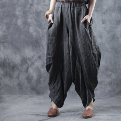 Casual 100% Linen Loose Pants Women Spring Trousers W1291