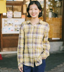 Yellow Plaid Loose Short Shirt Women Casual Tops For Spring T9117