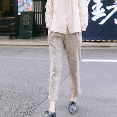 Beige Linen Casual Pants Women Loose Spring Trousers K9130