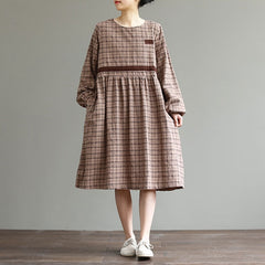 Casual Plaid Drawing Cotton Linen Dresses For Women Q27021
