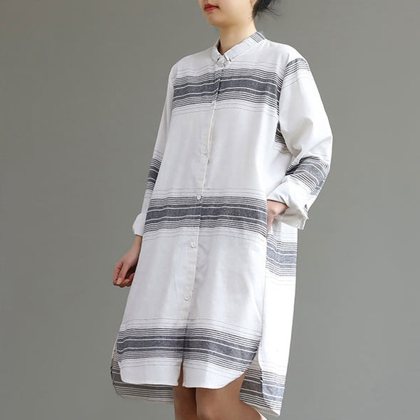 Loose White And Black Shirt Dresses Women Casual Spring Clothes Q27022