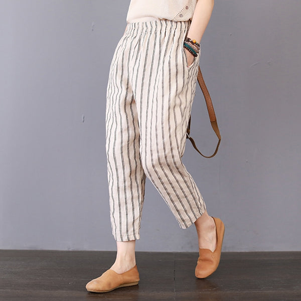 Vintage Striped Linen Casual Pants Women Loose Spring Trousers K25027