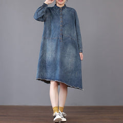 Casual Blue Denim Dresses Women Loose Clothes For Spring Q27023