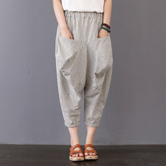 Loose Striped Cotton Linen Pants Women Casual Trousers K4030