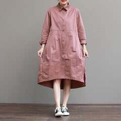 Casual Blue And Pink Loose Shirt Dresses Women Spring Outfits Q4032